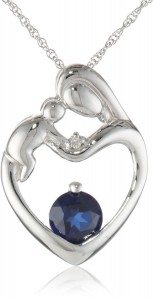 Mother And Child Necklace with Sapphire Pendant